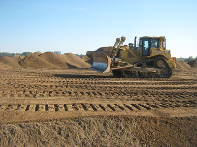 Bulldozer moving dirt